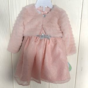 Baby girl peach color dress jacket set 6/9 months